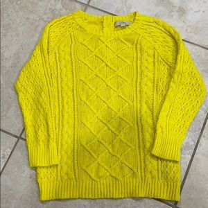 Loft Bright Yellow Fisherman Cable Knit Sweater S